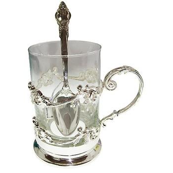 Серебряный набор Изящество: подстаканник с ложкой чайной Небо в алмазах 20300.000