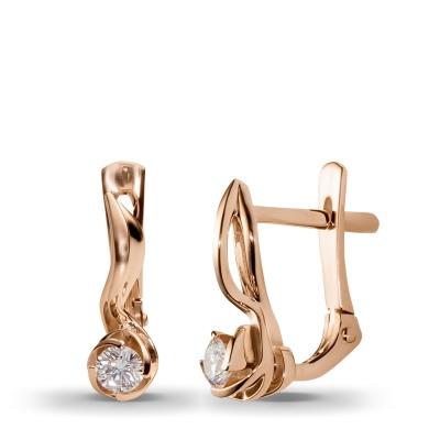 Серьги Заптая с 2 бриллиантами из красного золота от Небо в алмазах