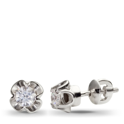 Обольстительные серьги с 2 бриллиантами из белого золота от Небо в алмазах