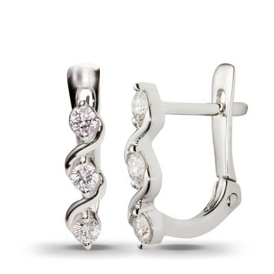 Серьги с 6 бриллиантами из белого золота от Небо в алмазах