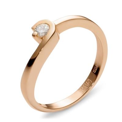 Кольцо с 1 бриллиантом из красного золота от Небо в алмазах