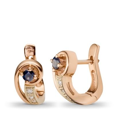 Пленительные серьги с 6 бриллиантами, 2 сапфирами из комбинированного золота 585 пробы