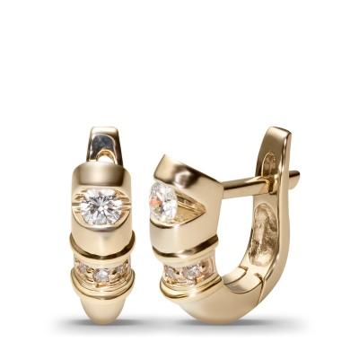 Пикантные серьги с 8 бриллиантами из комбинированного золота 750 пробы от Небо в алмазах