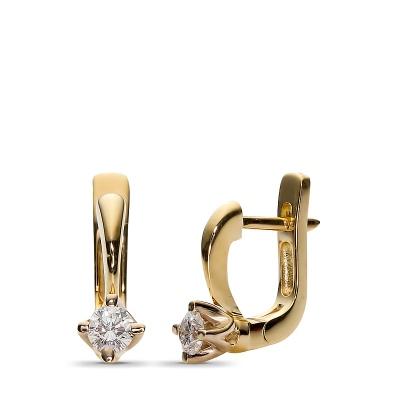 Аристократические серьги с 2 бриллиантами из комбинированного золота 750 пробы от Небо в алмазах
