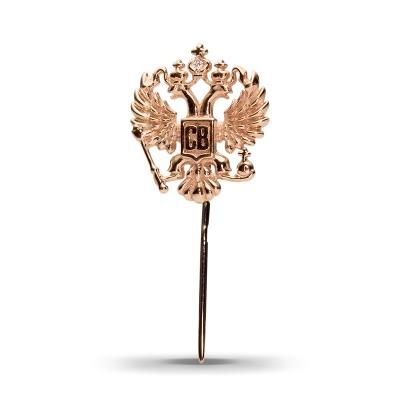 Булавка Герб с 1 фианитом весом 0.01 карат из красного золота 585 пробы Небо в алмазах 6200.000