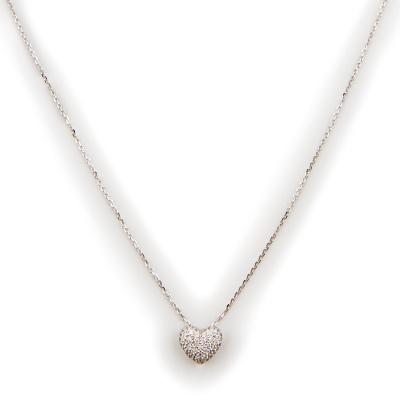 Колье Сердце с 49 фианитами весом 0.62 карат из белого золота 585 пробы Небо в алмазах 6200.000