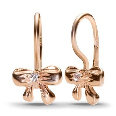 Серьги Бантики с 2 фианитами из красного золота от Небо в алмазах