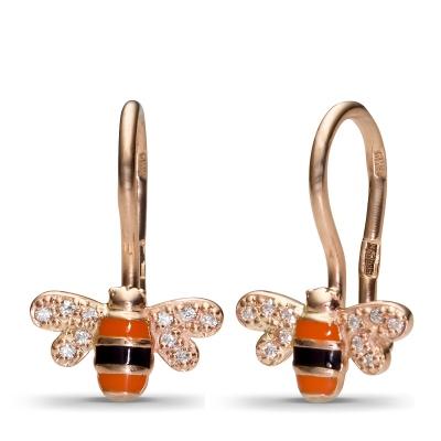 Серьги Пчелки с 20 фианитами из красного золота от Небо в алмазах