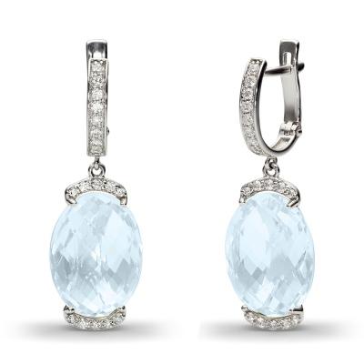 Серьги с 2 топазами, 36 фианитами из белого золота от Небо в алмазах